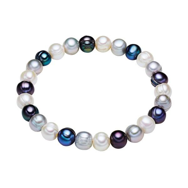 Modro-biely perlový náramok Chakra Pearls, 19 cm
