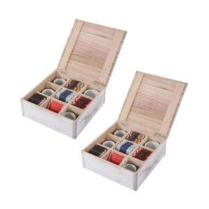 Sada 2 bielych krabičiek na čaj Mendler Shabby