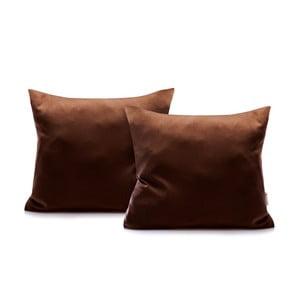 Sada 2 tmavohnedých bavlnených obliečok na vankúše DecoKing Amber Chocolate, 40 x 40 cm