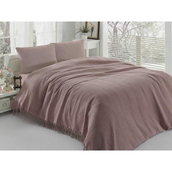 Hnedo-ružová ľahká prikrývka cez posteľ Pique, 220x240cm