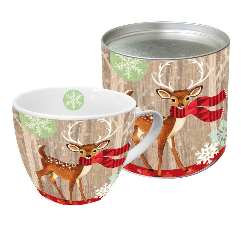 Hrnček z kostného porcelánu s vianočným motívom v darčekovom balení PPD Deer With Scarf, 450 ml