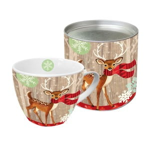 Porcelánový hrnček s vianočným motívom v darčekovom balení PPD Deer With Scarf, 450 ml