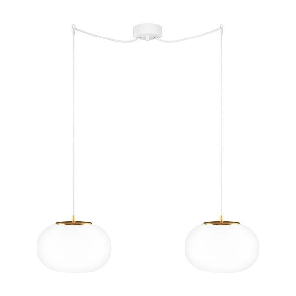 Dvojité závesné svietidlo z opálového skla so zlatou objímkou a bielym káblom Sotto Luce DOSEI