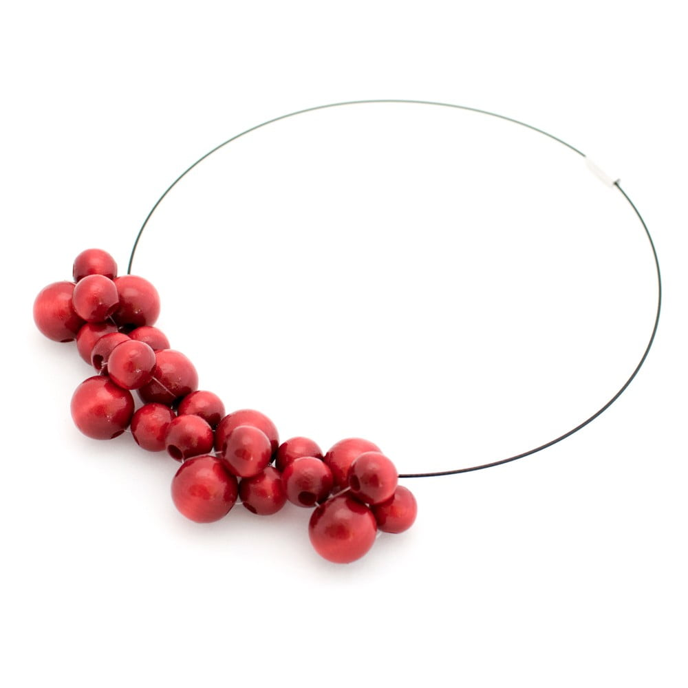 Červený drevený náhrdelník ko–ra–le Bubbles