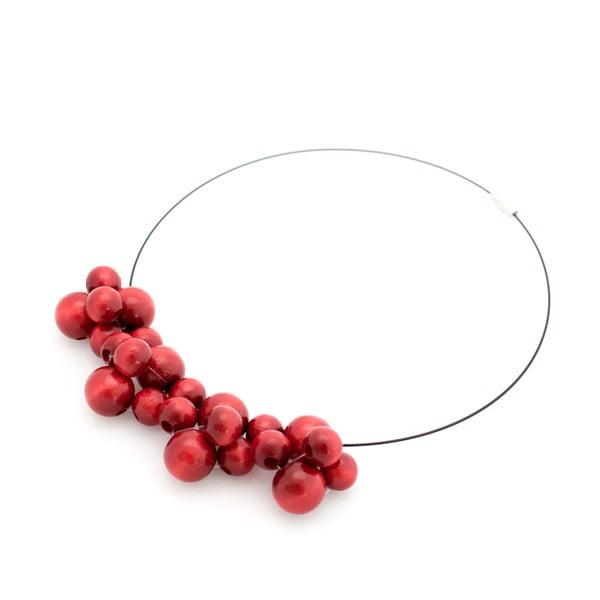 Červený drevený náhrdelník Ko–ra–leBubbles