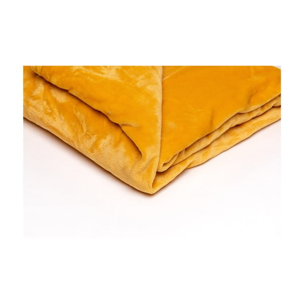 Medovožltá mikroplyšová deka My House, 150 × 200 cm