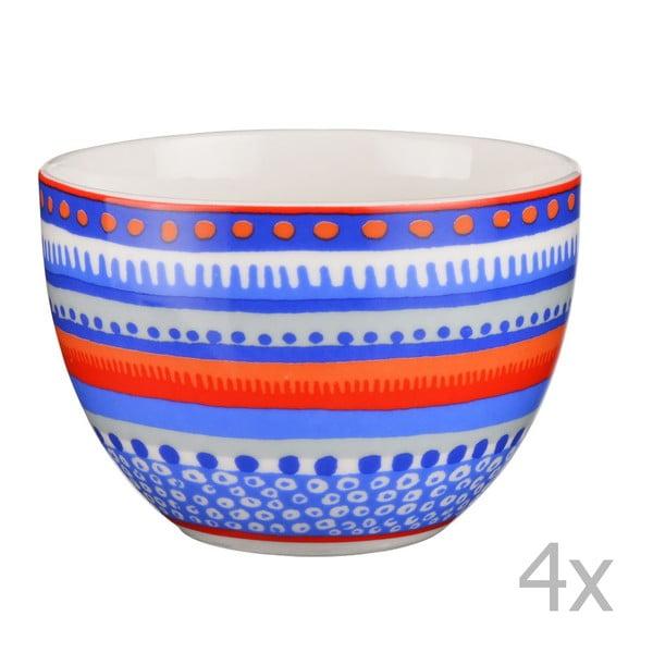 Sada 4 porcelánových misiek / hrnčekov Oilily 10 cm, modrá