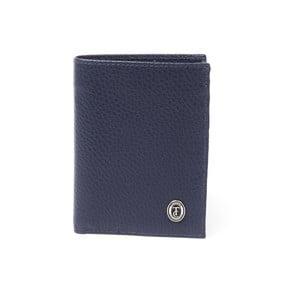 Modrá pánska kožená peňaženka Trussardi Zala, 12,5 × 9,5 cm