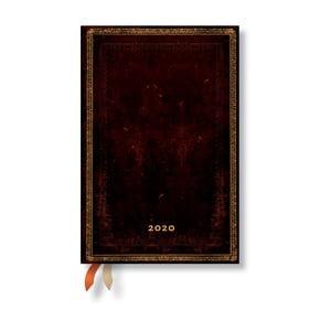 Hnedý diár na rok 2020 v tvrdej väzbe Paperblanks Black Morrocan, 160 strán