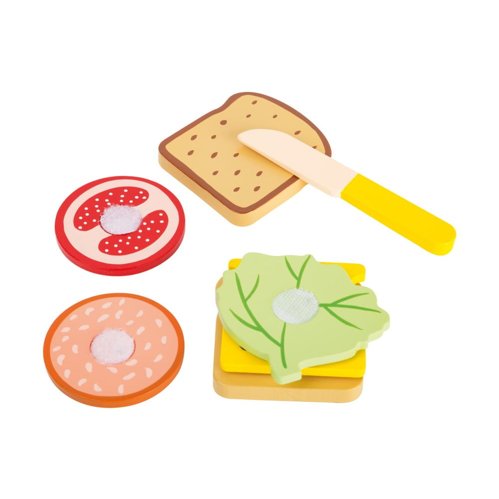 Set detských drevených hračiek na výrobu sendvičov Legler Snacktime