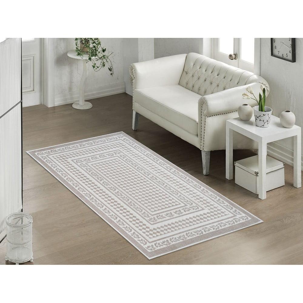Béžový odolný bavlnený koberec Olivia, 160x230 cm, béžový