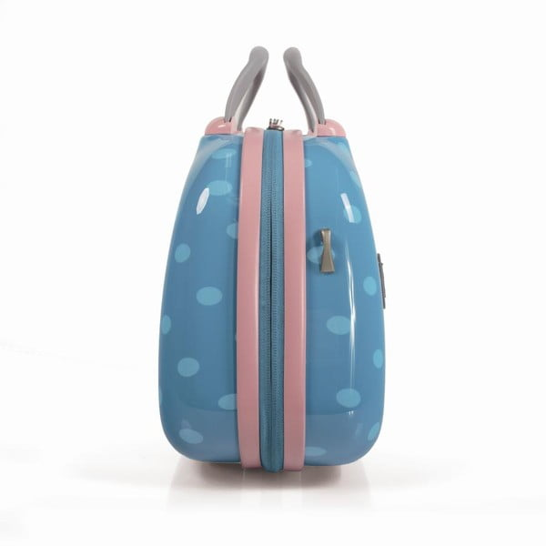 Tyrkysový cestovný kozmetický kufrík s bodkami SKPA-T