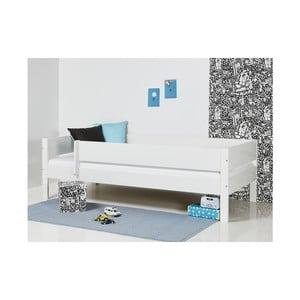 Biela detská posteľ s bezpečnostnými postrannými peľasťami Manis-h Huxie, 70 x 160 cm
