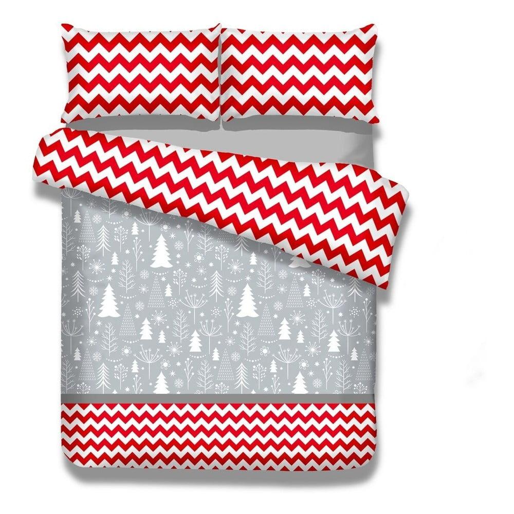Sada 2 flanelových posteľné obliečky AmeliaHome Christmas Mess, 155 x 220 cm
