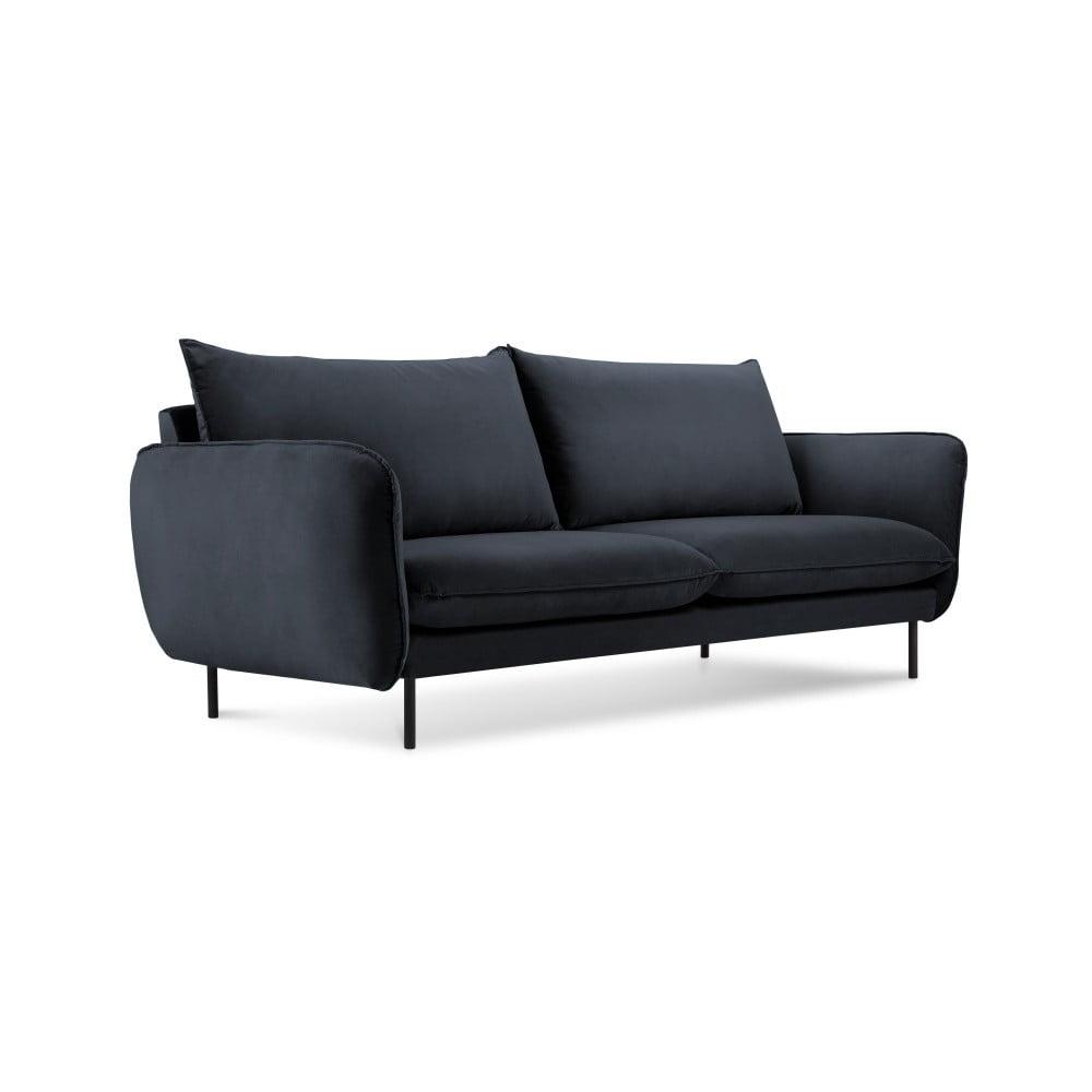 Tmavomodrá zamatová pohovka Cosmopolitan Design Vienna, 160 cm