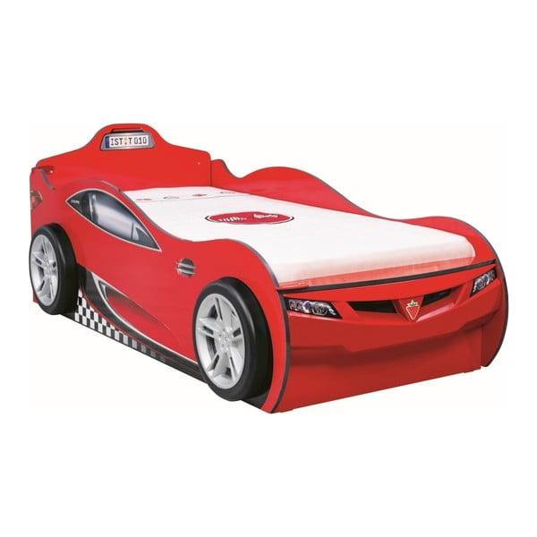 Červená detská posteľ v tvare auta s úložným priestorom Coupe Carbed With Friend Bed Red, 90 × 190 cm