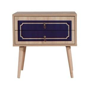 Nočný stolík s 2 zásuvkami Two Blue Classic, 40×60 cm