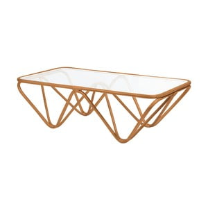 Ratanový konferenčný stolík so sklenenou doskou RGE Jura, 75 x 144 cm