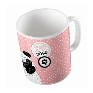 Keramický hrnček Pug In Dots, 330 ml
