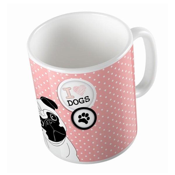 Keramický hrnček Butter Kings Pug In Dots, 330 ml