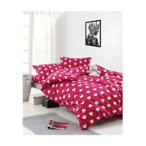 Obliečky s plachtou na dvojlôžko z ranforce bavlny Mijolnir Chole Red, 200 × 220 cm
