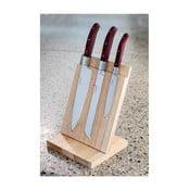 Sada 3 nožov s dreveným stojanom Laguiole Isai