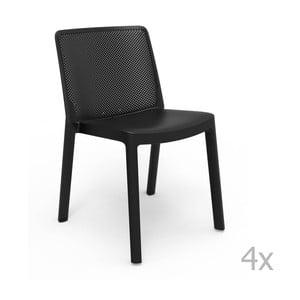 Sada 4 čiernych záhradných stoličiek Resol Fresh