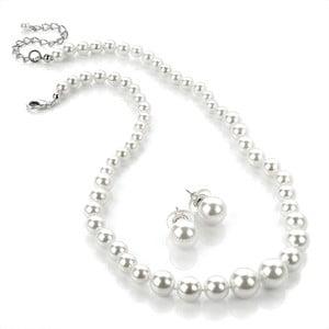 Sada náhrdelníkov a náušníc Pearl White