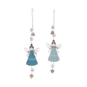Sada 2 malých modrých drevených závesných dekorácií v tvare anjelikov Ego Dekor, 8×40 cm