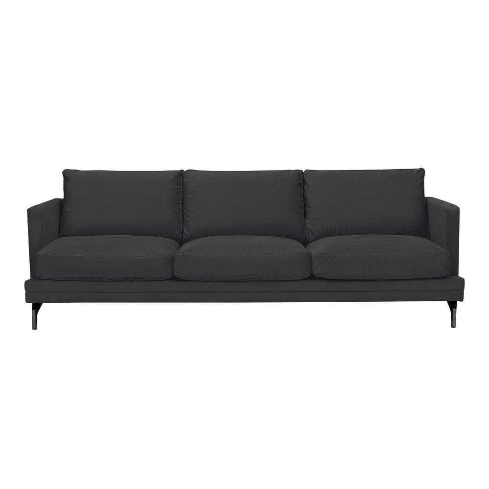 Tmavosivá trojmiestna pohovka s podnožou v čiernej farbe Windsor & Co Sofas Jupiter