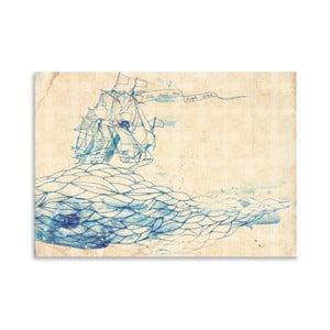 Plagát Blue Ship, 30x42 cm