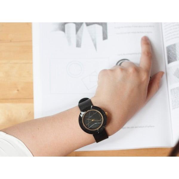 Čierne mramorové hodinky s čiernym remienkom Analog Watch Co. Marble