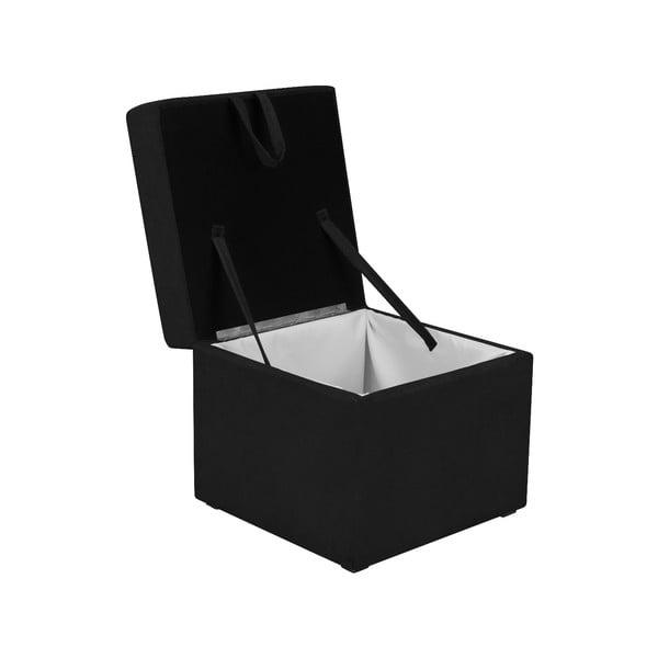 Čierna taburetka s úložným priestorom KICOTI Cube