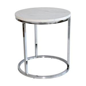 Biely mramorový odkladací stolík s chrómovanou podnožou RGE Accent, ⌀ 50 cm
