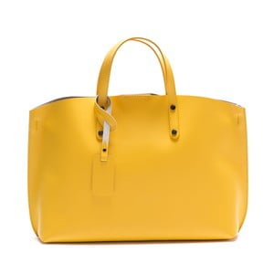 Žltá kožená kabelka Luisa Vannini 3034