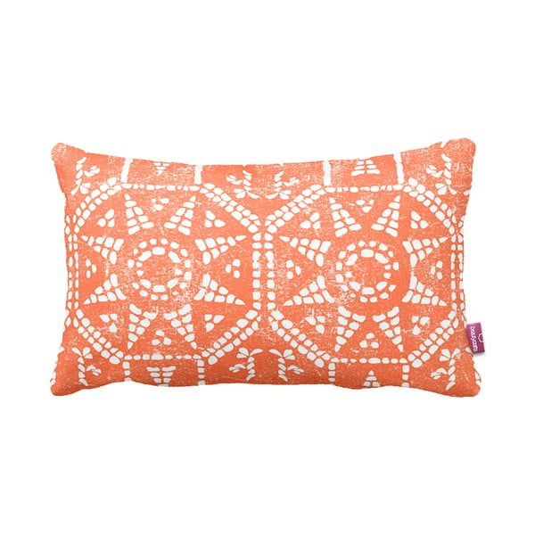 Oranžovo-biely vankúš Orange Sun, 35x60cm