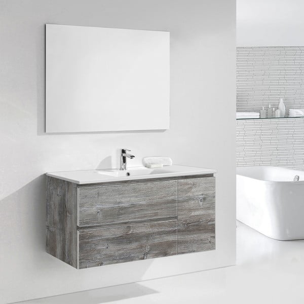 Kúpeľňová skrinka s umývadlom a zrkadlom Happy, vintage dekor, 120 cm