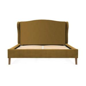 Horčicovohnedá posteľ z bukového dreva Vivonita Windsor, 140 × 200 cm