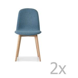 Sada 2 modrých jedálenských stoličiek s nohami z masívneho dubového dreva WOOD AND VISION Basic