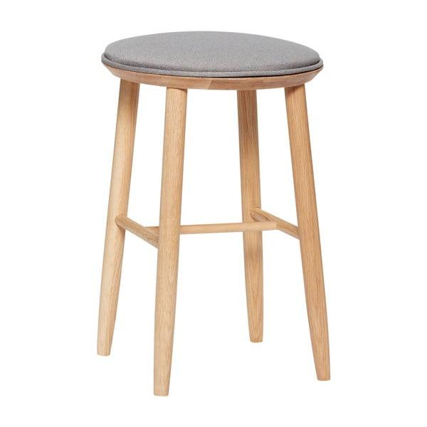 Barová stolička z dubového dreva s čalúneným sedadlom Hübsch Oak Bar Stool, výška 52 cm