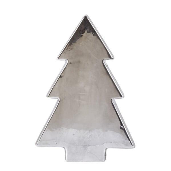 Dekoratívna keramická soška v striebornej farbe KJCollection Tree Silver Matt, 22 cm