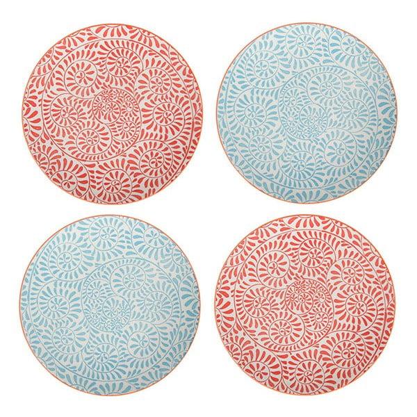 Sada 4 porcelánových tanierov Summer, 20.5 cm