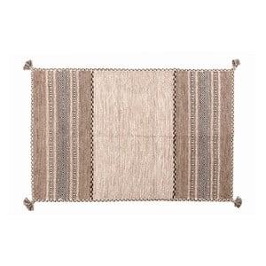 Béžovo-hnedý ručne tkaný koberec Navaei & Co Kilim Tribal 105, 90 x 60 cm