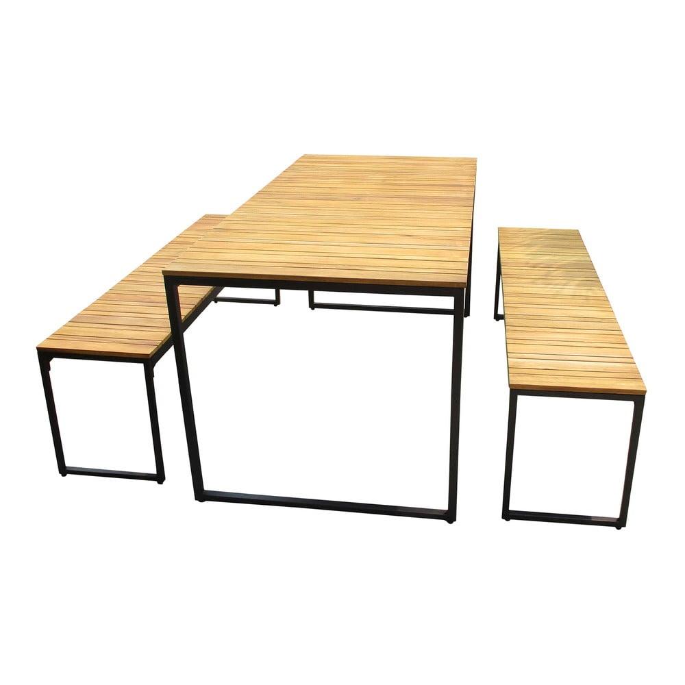 Záhradná súprava stola a 2 lavíc z akáciového dreva s kovovou konštrukciou Ezeis Brick