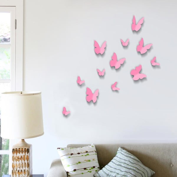 Trojrozmerné samolepky motýlikov Walplus 3D Butterflies Pink
