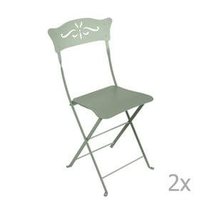 Sada 2 sivozelených skladacích záhradných stoličiek Fermob Bagatelle