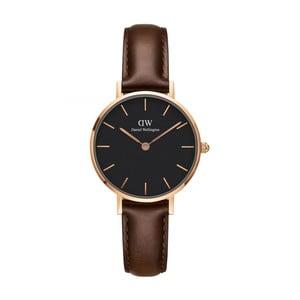 Dámske hodinky s koženým remienkom a čiernym ciferníkom s detailmi ružovozlatej farby Daniel Wellington Petite Bristol, ⌀28 mm