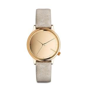 Dámske sivé hodinky s koženým remienkom a ciferníkom vo farbe ružového zlata Komono