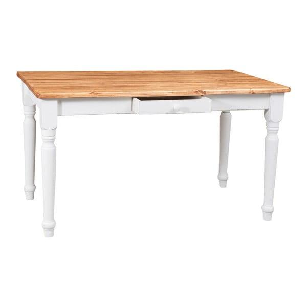 Drevený biely stôl so zásuvkami Biscottini