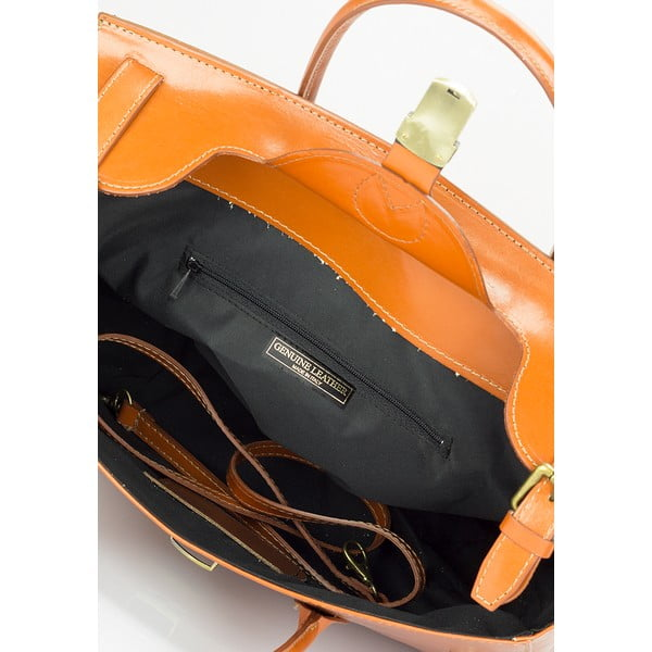 Koňakovohnedá kožená kabelka Lisa Minardi Pomona